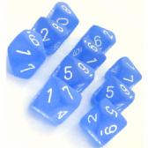 Blue & White Frosted D10 Ten Sided Dice Set